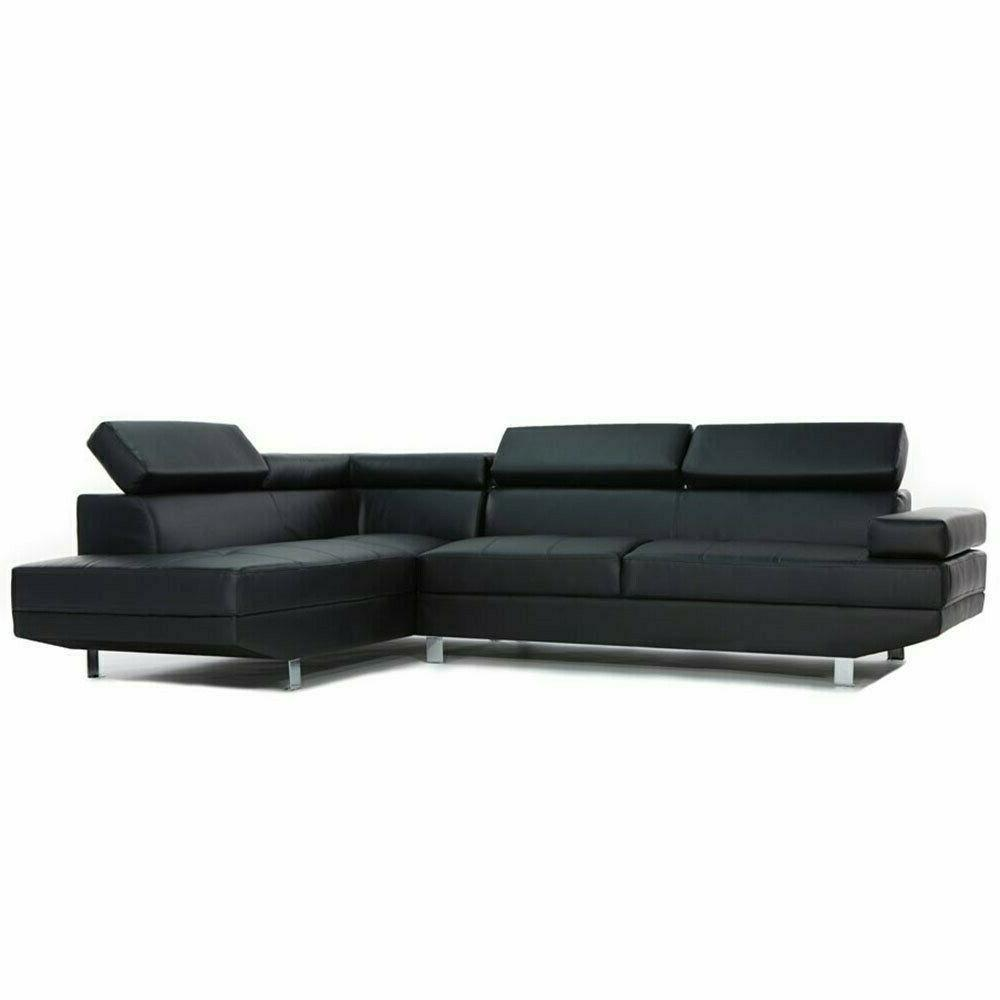Sofamania Piece Contemporary Black Faux Sectional