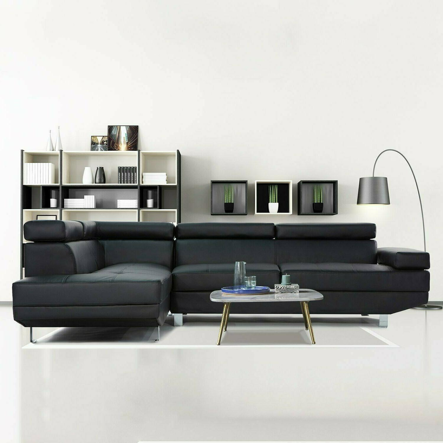 2 piece modern contemporary black faux leather
