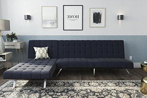 Astounding Dhp 2264629Set Emily Sectional Futon Navy Pabps2019 Chair Design Images Pabps2019Com