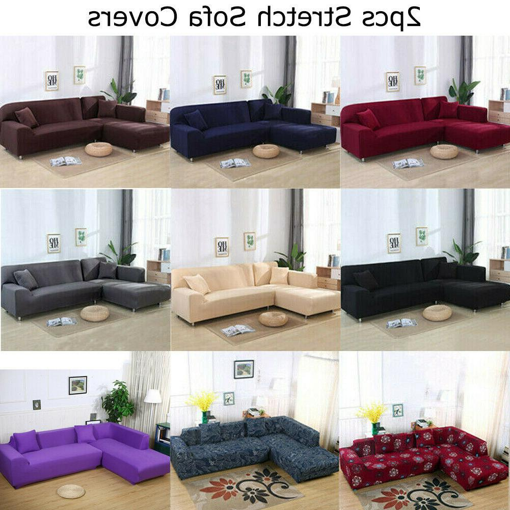 2pcs 3 seater sofa covers stretch slipcover