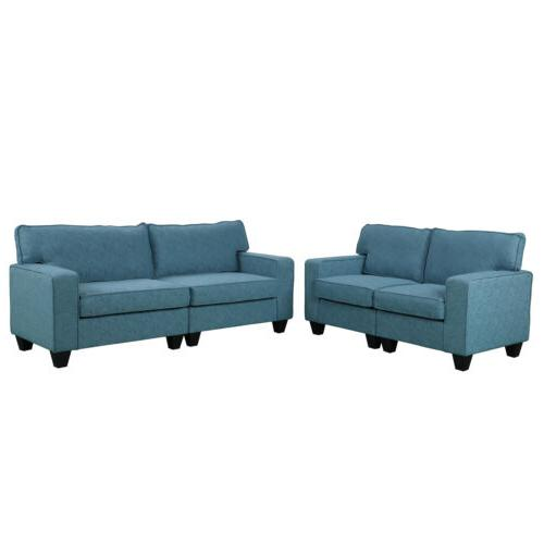 2PCS Living Set Upholstered Furniture Sectional Blue