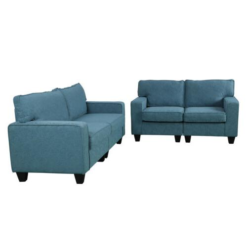 2PCS Room Set Upholstered Loveseat Furniture Sectional Armrest