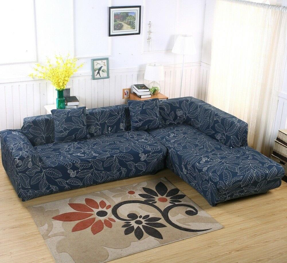 2pcs 3-seater Stretch Slipcover for L Type