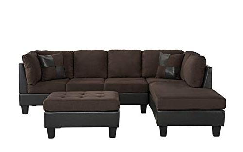 3 Piece Faux Sofa with Ottoman, Color Beige, Chocolate and