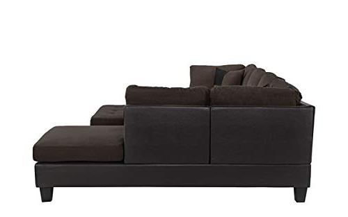 3 Piece Faux Sectional with Ottoman, Beige, and Grey