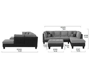 3-PC Room Set Microfiber Sofa,