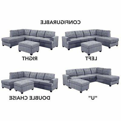 3 Sofa Modern Tufted Grey Reversible Sectional Couch with Ottoman