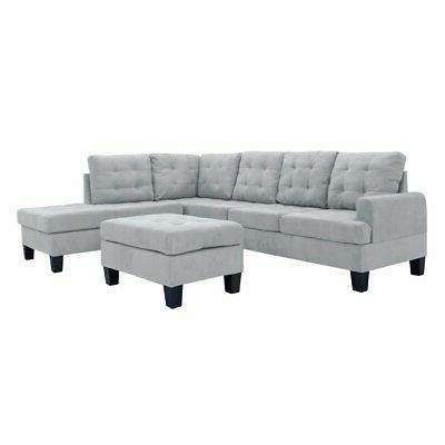 3 pc modern reversible sectional sofa l