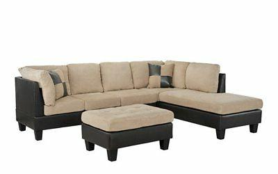 3-PC Faux Leather and Microfiber Sectional Sofa with Ottoman