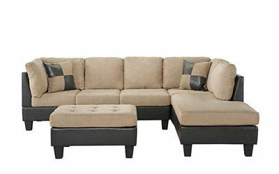 3-PC Faux Leather and Microfiber Sectional with Ottoman,