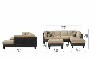 3-PC Faux Microfiber Sectional Sofa with Ottoman, Beige/Brown