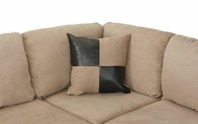 3-PC Microfiber Sectional Ottoman, Beige/Brown