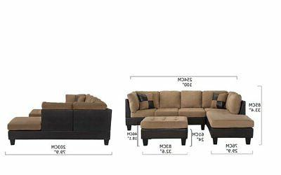 3-Piece Sectional Sofa Chaise,