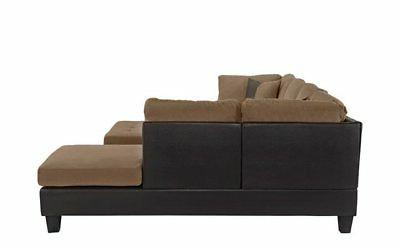 3-Piece Leather Sectional Chaise, Hazelnut