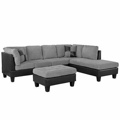 Grey Microfiber Sectional Sofa Faux Black Leather with Ottom