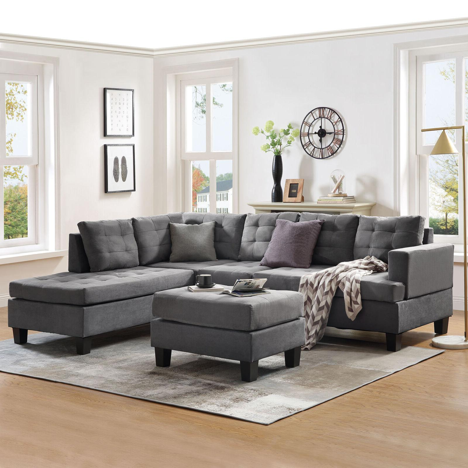 3-Piece Sectional Sofa L-Shaped Couch Blue