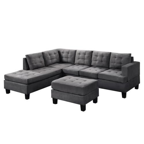 3-Piece Lounge and Ottoman L-Shaped Couch