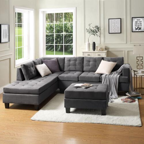 3-Piece Sectional Lounge Ottoman L-Shaped Couch Gray
