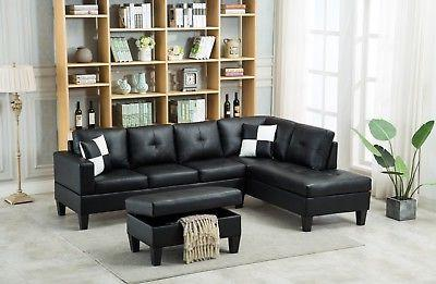 3pc faux leather sectional modern sofa couch