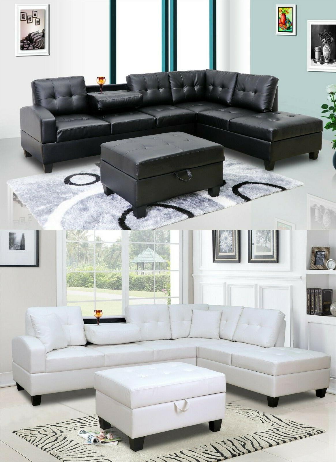 the room style 3pc pu leather living room sectional sofa