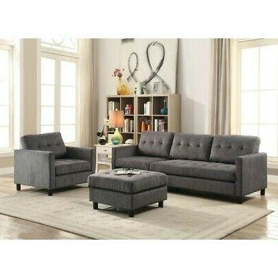 3x ceasar sectional sofa set gray fabric