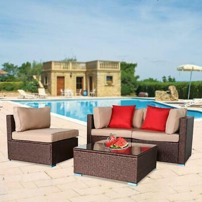 4 PCS Sectional Set Wicker Cushioned