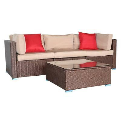 4 PCS Wicker Cushioned Couch W/Table
