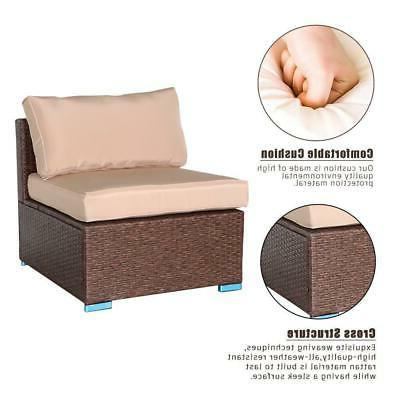 4 Sectional Rattan Wicker Cushioned