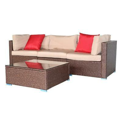 4 PCS Furniture Sectional Set Wicker W/Table