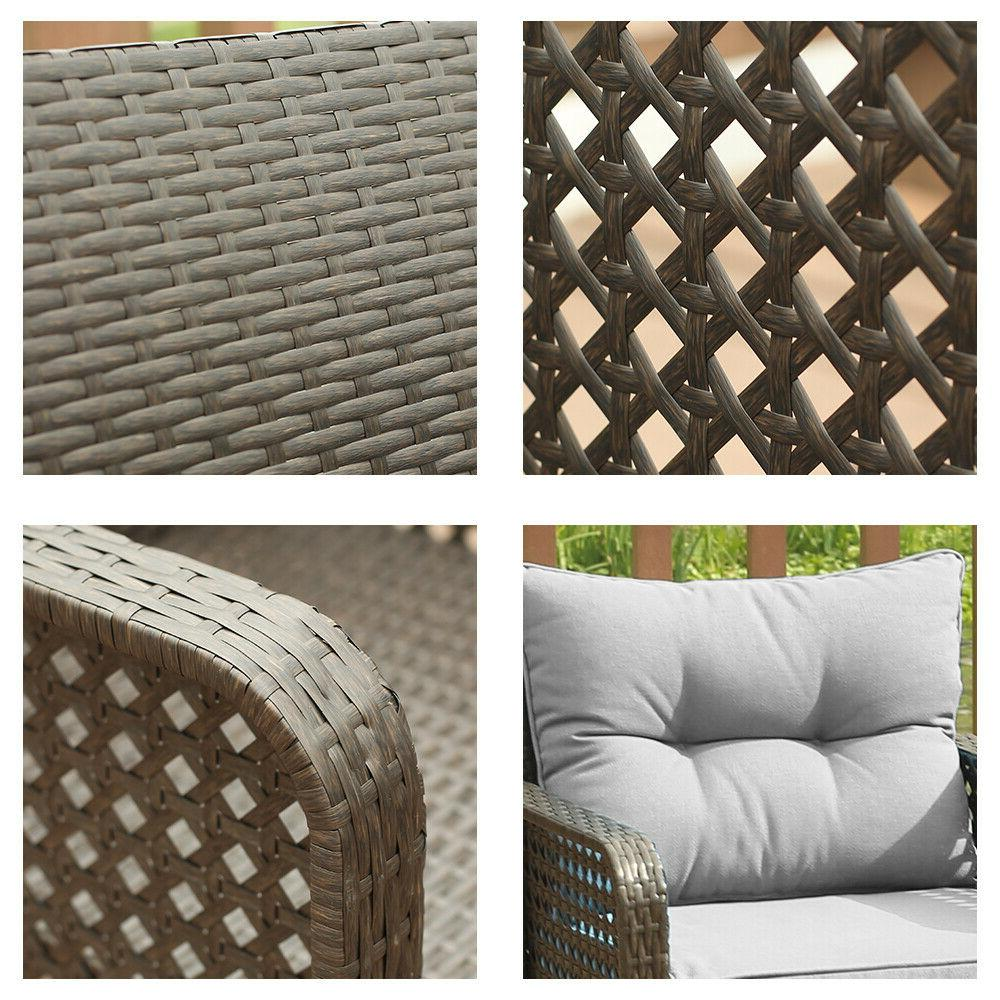4 Pcs Wicker Sofa Garden Sectional Couch