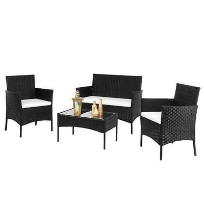 4 Pcs Sectional Furniture Set Outdoor Wicker US