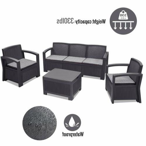 5PCS Rattan Set Sectional Couch 4