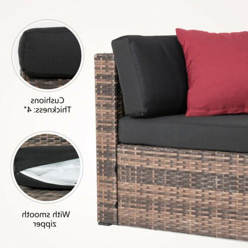 Rattan Sofa Sectional Cushioned Patio Outdoor
