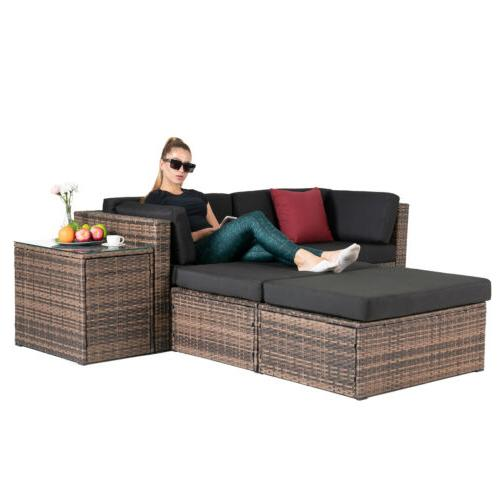 5PCS Rattan Wicker Sofa & Table Set Sectional Cushioned Livi