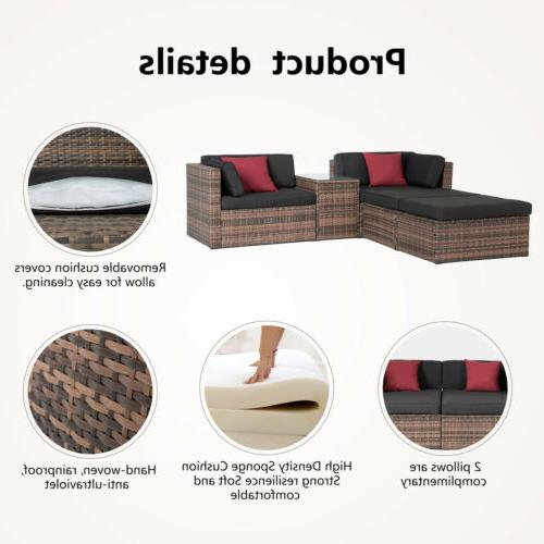 Sectional Couch Patio Outdoor Brown