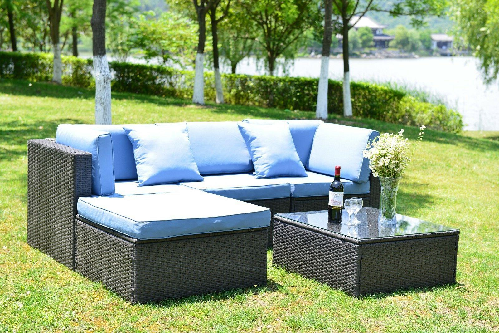 5 PCS Patio Furniture Sectional Sofa Set Outdoor Rattan Wick