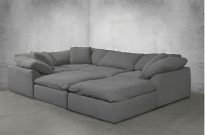 6-Pc Slipcovered Modular Sectional Sofa Performance Fabric Gra