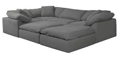 6 pc slipcovered modular pitt sectional sofa