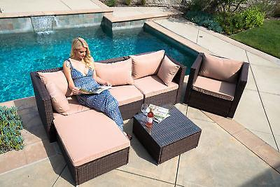 6pc outdoor patio furniture sectional rattan wicker