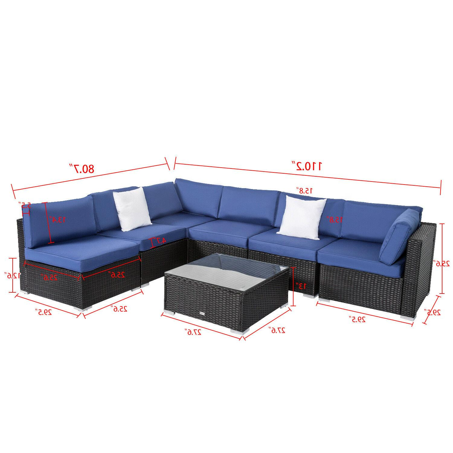 7 Rattan Cushioned Sectional Garden Outdoor Navy