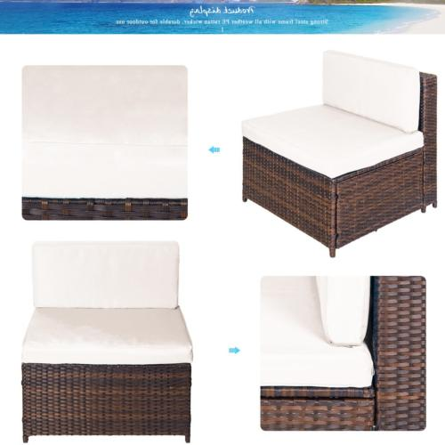 7 PC Furniture Sectional Patio Black