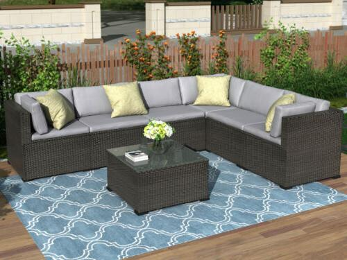 7 pc rattan furniture sectional home outdoor