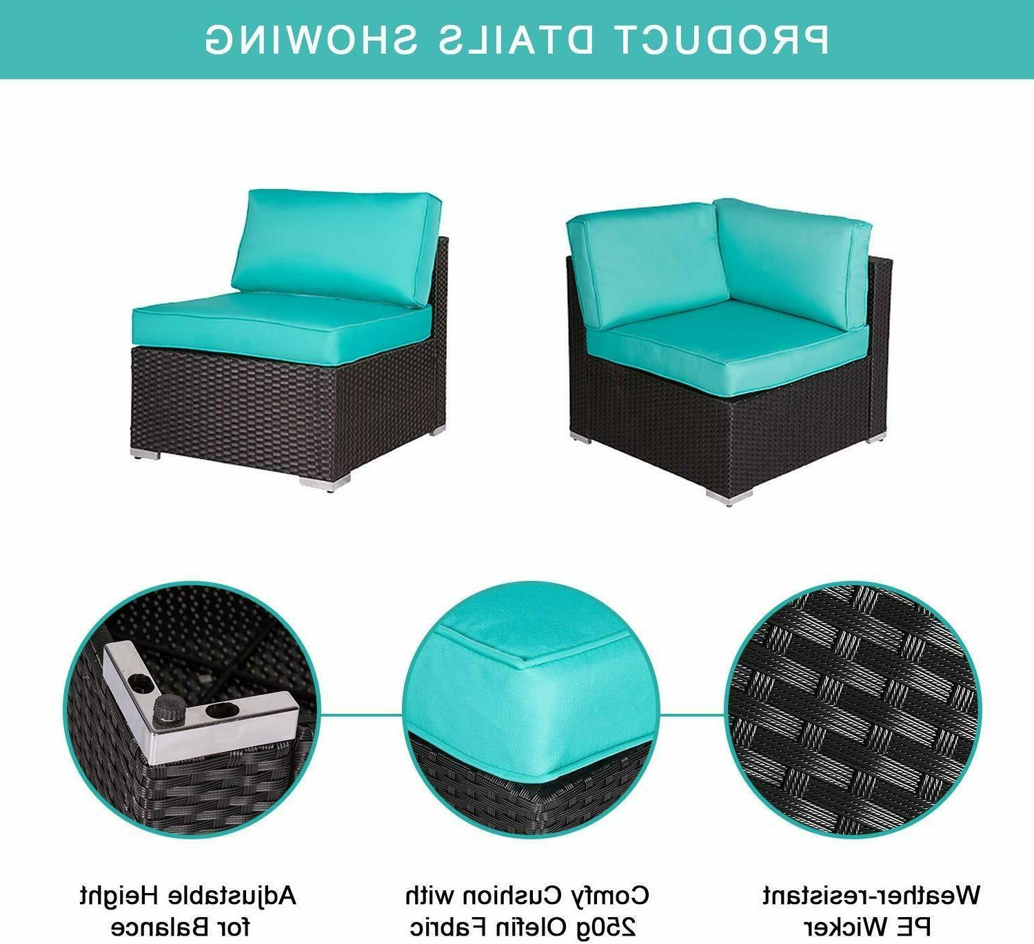 7 Outdoor Garden Sectional Sofa Set Rattan with Table Blue