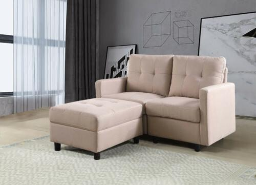 7-Piece Modular Sectional Sofa Modern Linen Couch With Back Cushion