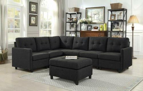 7 piece modular sectional sofas set fabric