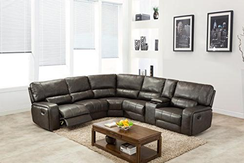 Blackjack 7096-GRAY-PWR Sectional Leather Match, Sofa, Gray