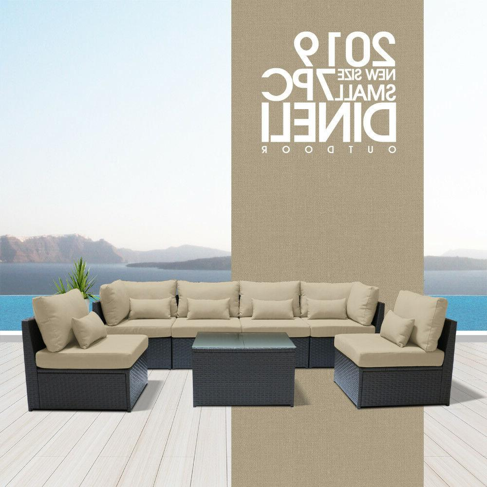 7pc outdoor patio furniture rattan wicker sectional