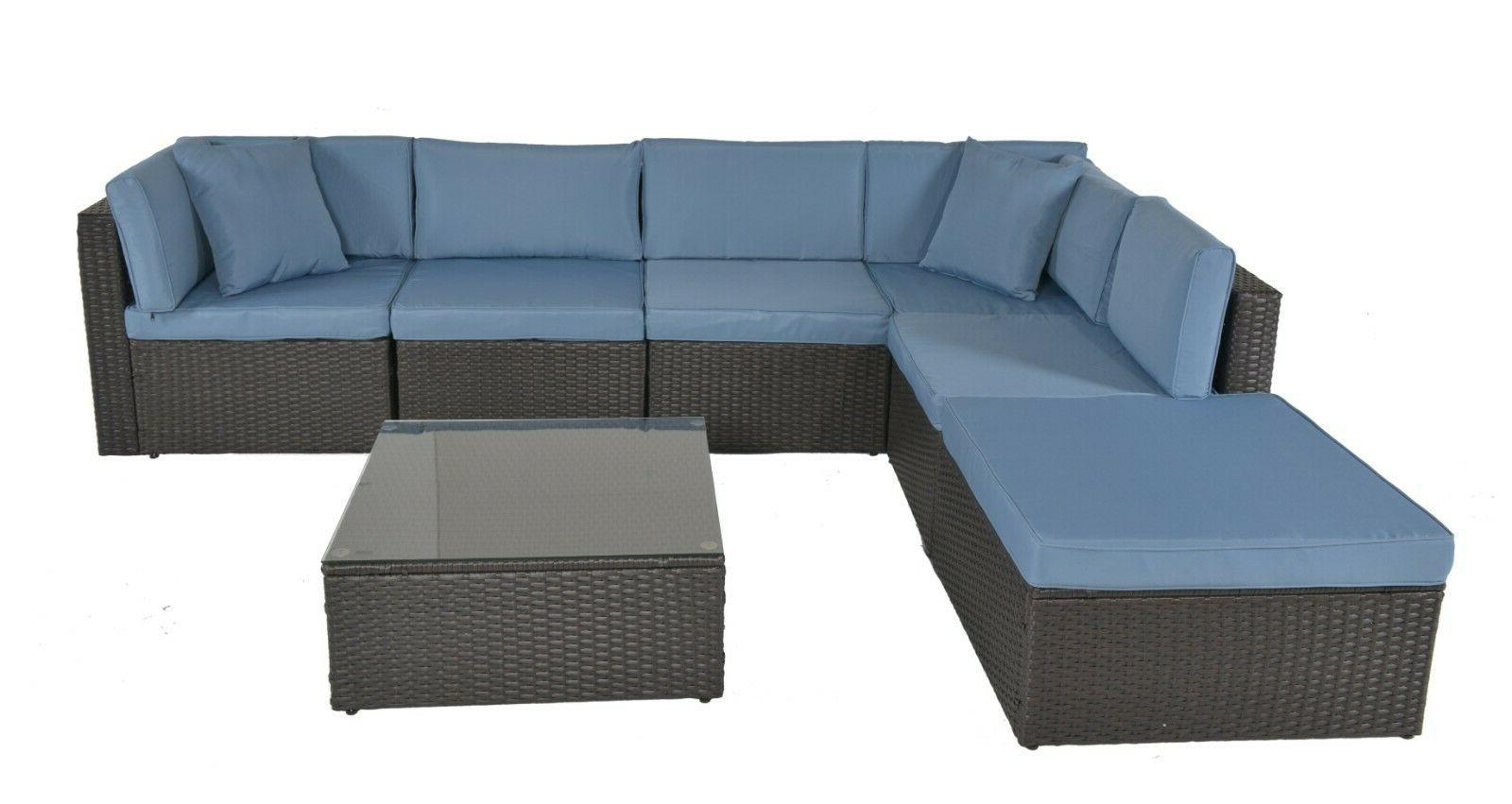 7pc patio wicker rattan sofa sectional set