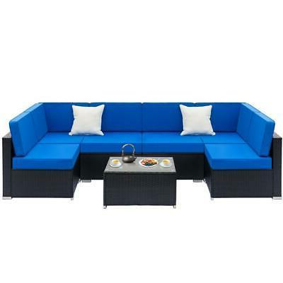 7PCS Rattan Wicker Sofa Set Sectional Couch Cushioned Furnit