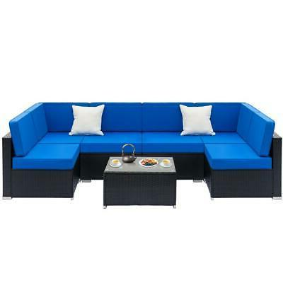 7PC Outdoor Patio Sectional Furniture PE Wicker Rattan Sofa